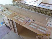 Glass installed in cabinet doors