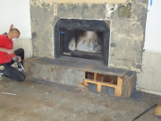 Remodel of existing hearth to new size