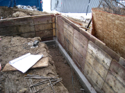 Foundation walls being formed