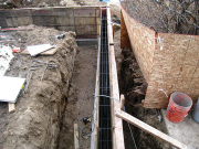 Forms and rebars for foundation walls