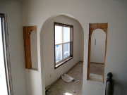 Small arch openings are ready to be closed with drywall