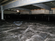 Plastic barrier in new crawl space is finished
