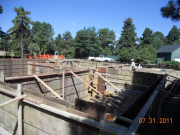 Foundation forms braced for concrete pour