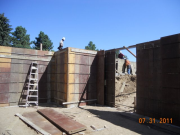 Basement forms secured for concrete pour