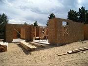 First floor walls are framed and sheathed