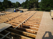 Joists are braced before sheathing