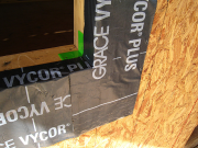 Green corners are used with Vycor flashing for excellent moisture control