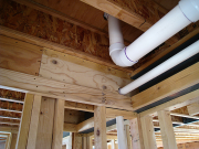 Firestops for dropped ceilings are installed before plumbing
