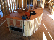 Kitchen island walls with air return