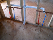Pex water and drain lines in master bathroom