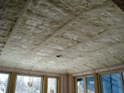 Dining room ceiling insulated with foam
