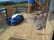 deck is protected during chimney demo