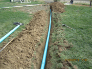 new septic line in backyard