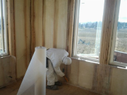exterior walls insulated with closed cell foam & prep for net & blown fiberglass