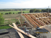 east part of roof is framed with cut rafters