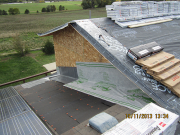 underlayment goes high on head wall for better moisture control