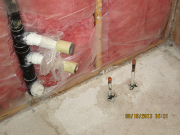 Plumbing pipes are capped