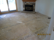 Carpet & baseboards are removed throughout house