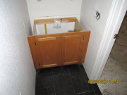 Countertop in lower bath is removed