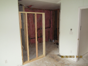 New wall in master bathroom is framed