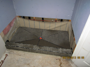 Slope at shower pan is finished