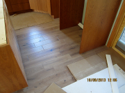 Prefinished hardwood floor is installed