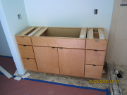 Master bathroom cabinet is installed