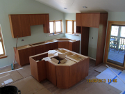 Kitchen cabinets are installed