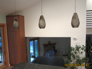 Pendant lights at kitchen island