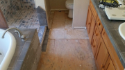 Bathroom tiles are removed