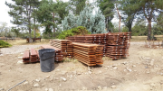 New deck material stacked for climate acclimation