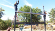 Steel frame for new deck addition being erected