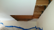 Drywall in bedroom was removed for deck tie