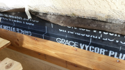 Deck ledgers are covered with Vycor for moisture control