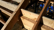 Rafters are bolted to gluelam beams