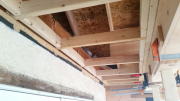 Soffit between deck and house is framed