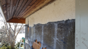 Kitchen wall stucco demo