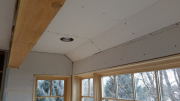 Drywall is hung in kitchen