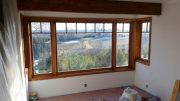 Stained kitchen window and beam