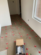 Tile installed with spacers