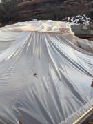 Crawlspace tented for heating