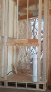 Insulation behind fireplace framing