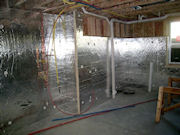 Unfinished Basement is Insulated with Rigid Foil Insulation