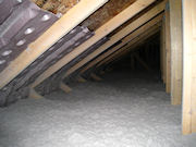 Blown Cellulose in Attic